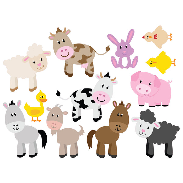 farm animal set of 12 wall stickers wallstickers co uk safari animal wall stickers by spin collective