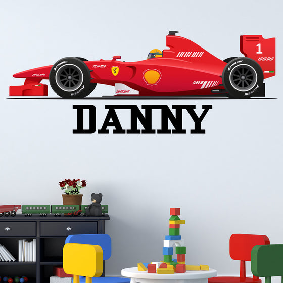 Personalised Formula One Race Car Wall Sticker