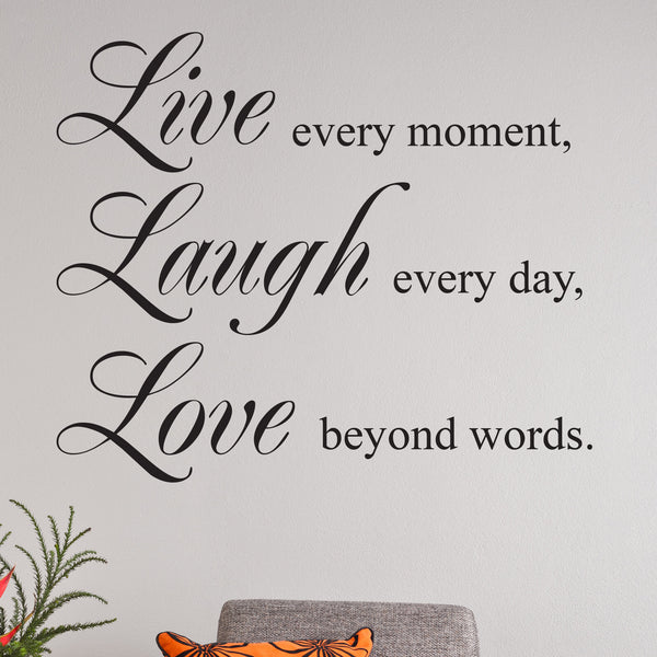 live laugh love quote wall sticker. Black Bedroom Furniture Sets. Home Design Ideas