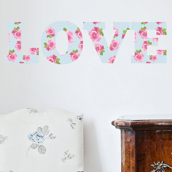 LOVE Shabby Chic Vintage Floral Wall Sticker