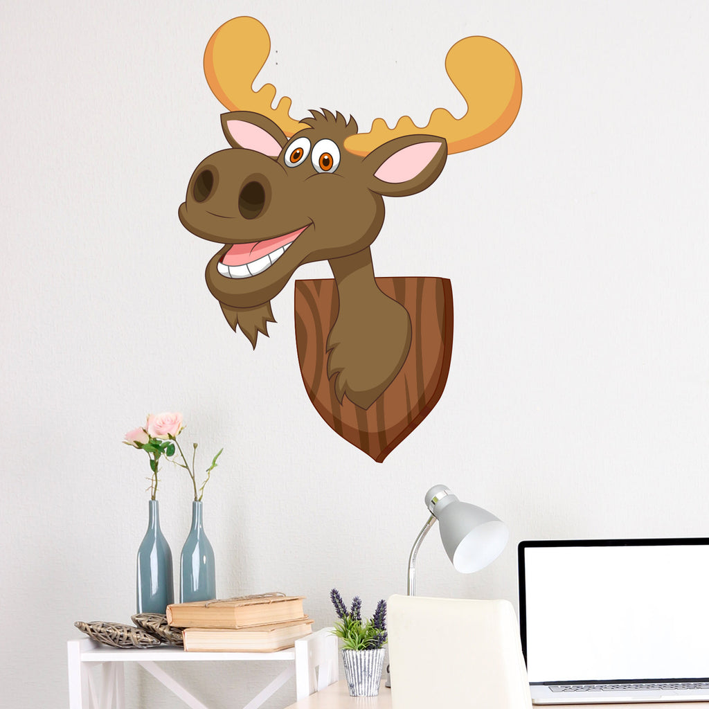 Mounted Moose Head Cartoon Wall Sticker
