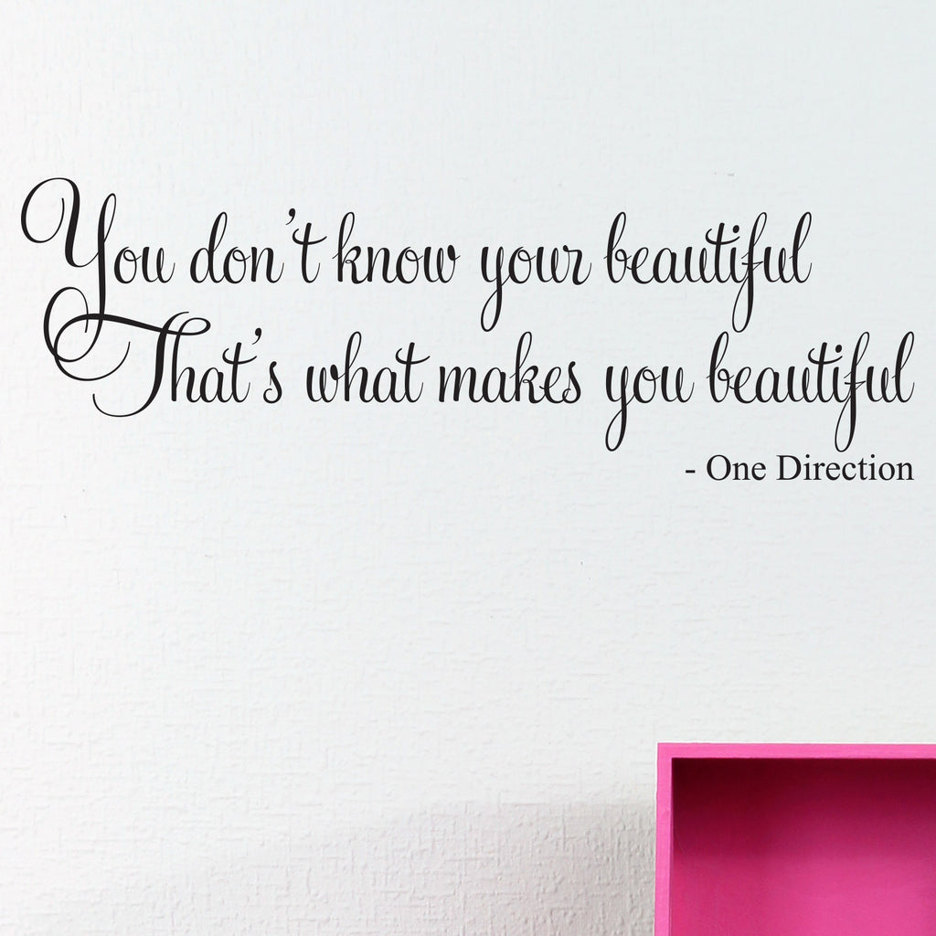 Beautiful One Direction Quote Wall Decal