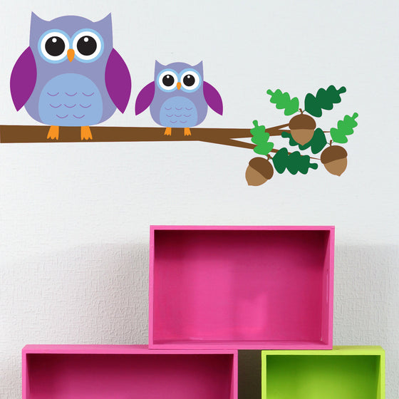Owls on a Branch Kids Wall Sticker