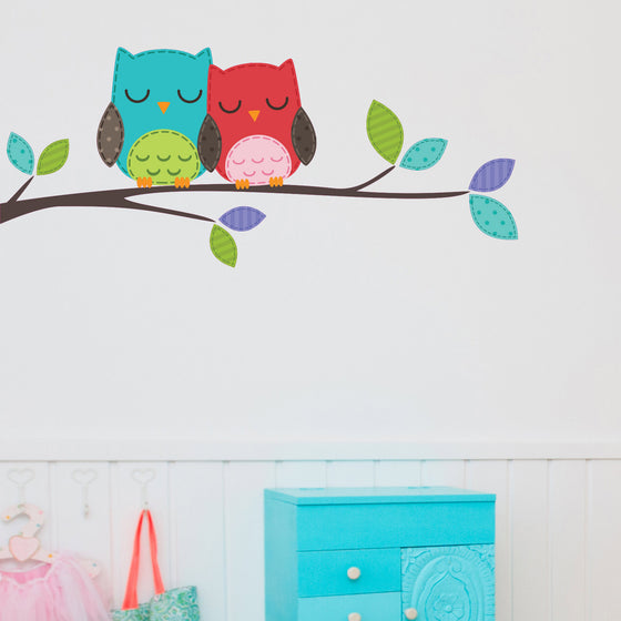 Two Owls on a Branch Kids Wall Sticker
