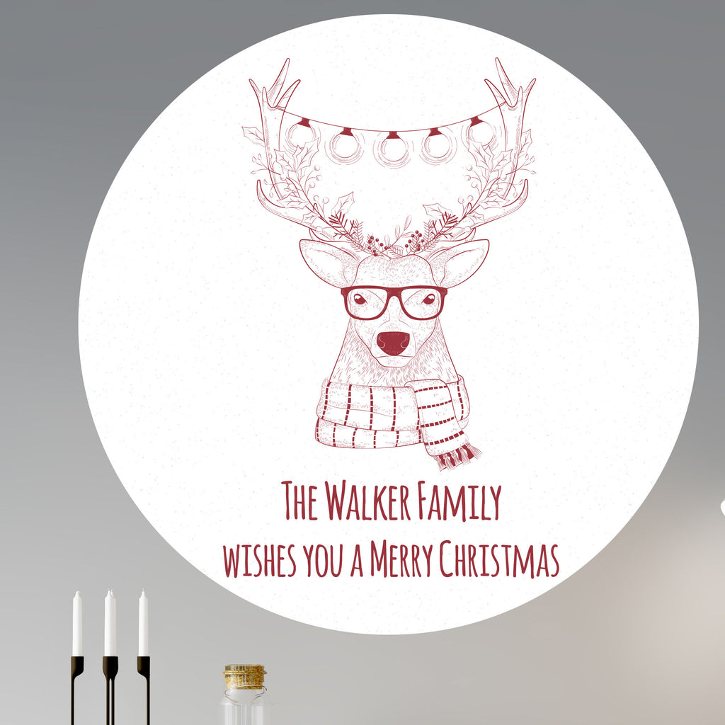 Personalised Christmas Hipster Deer Wall Sticker