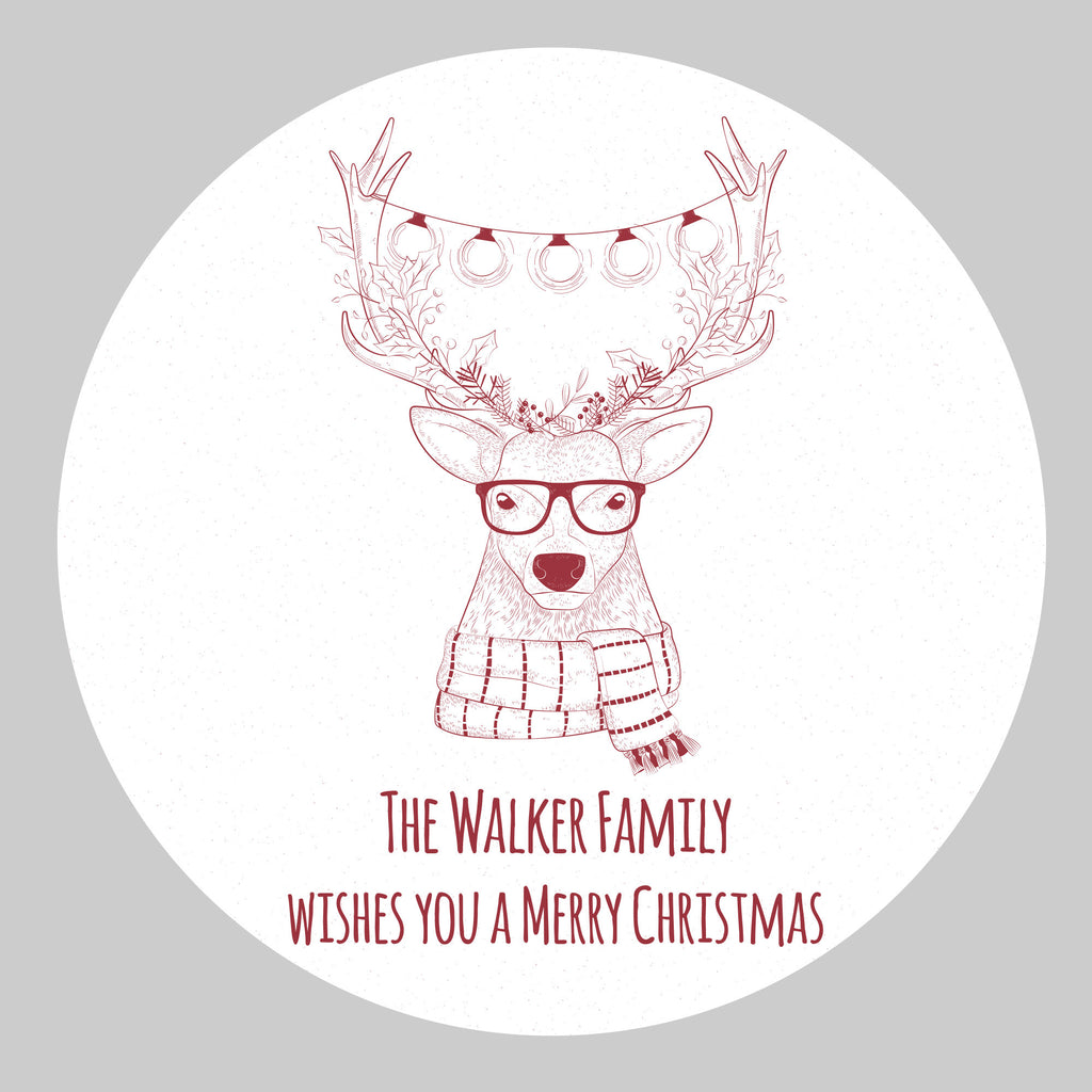 Personalised Xmas Hipster Deer Wall Decal