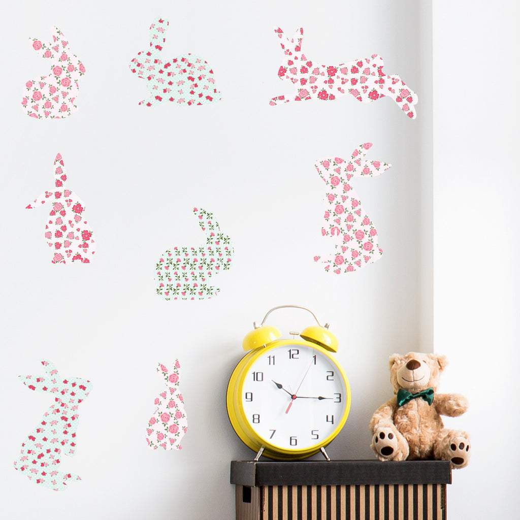 Floral Bunnies Wall Stickers