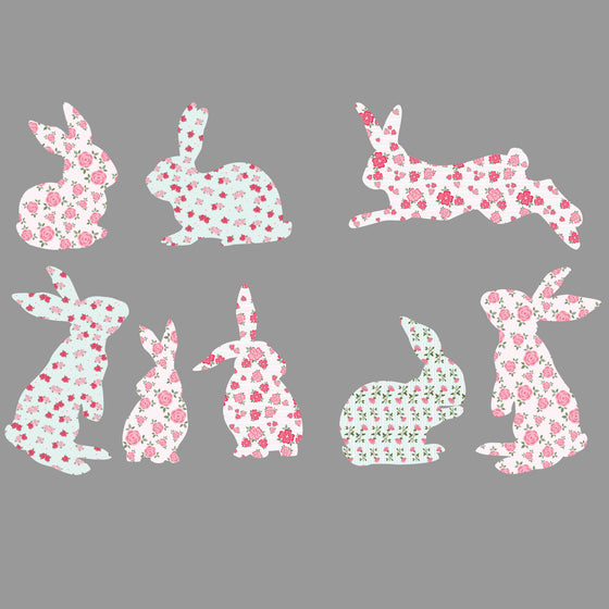 Set of Floral Shabby Chic Rabbit Wall Stickers