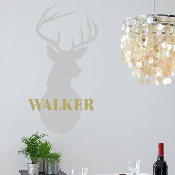 Stags Head Personalised Family Name Wall Sticker