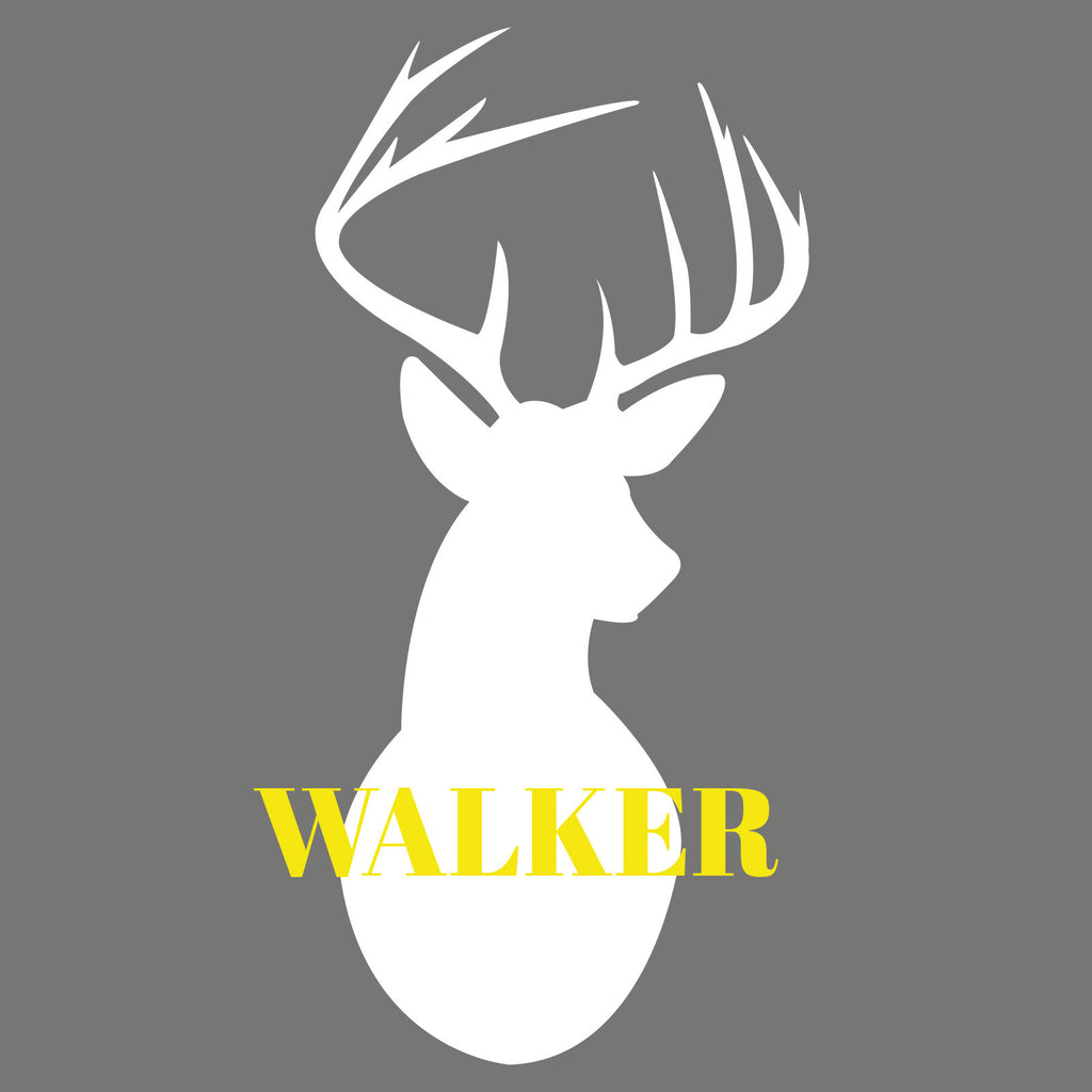 Stags Head Personalised Family Name Wall Decal