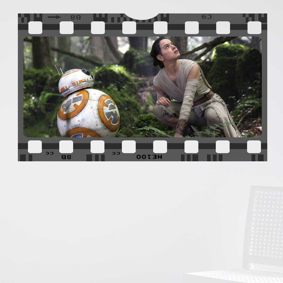 Star Wars The Force Awakens Rey BB8 Film Cell Wall Sticker