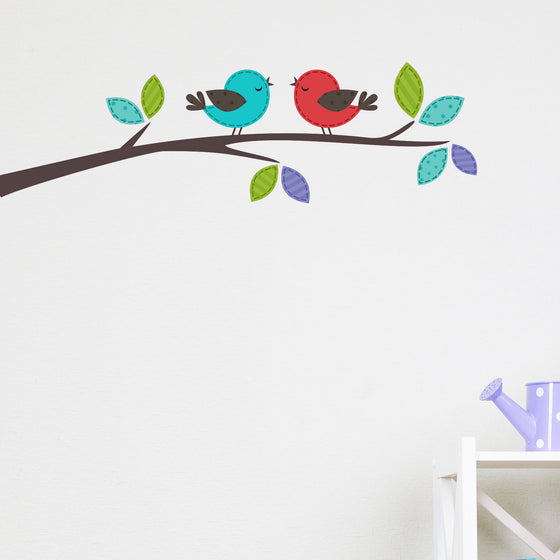 Cute Birds on a Branch Kids Wall Sticker