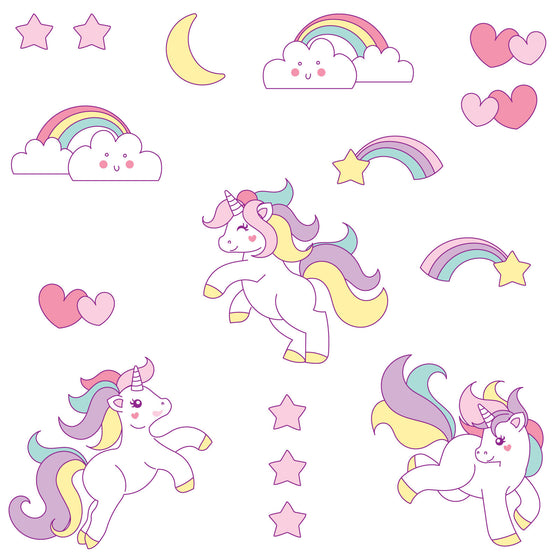 Cute Unicorn Wall Sticker Set