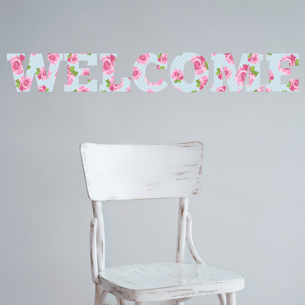 Welcome Shabby Chic Vintage Floral Wall Sticker