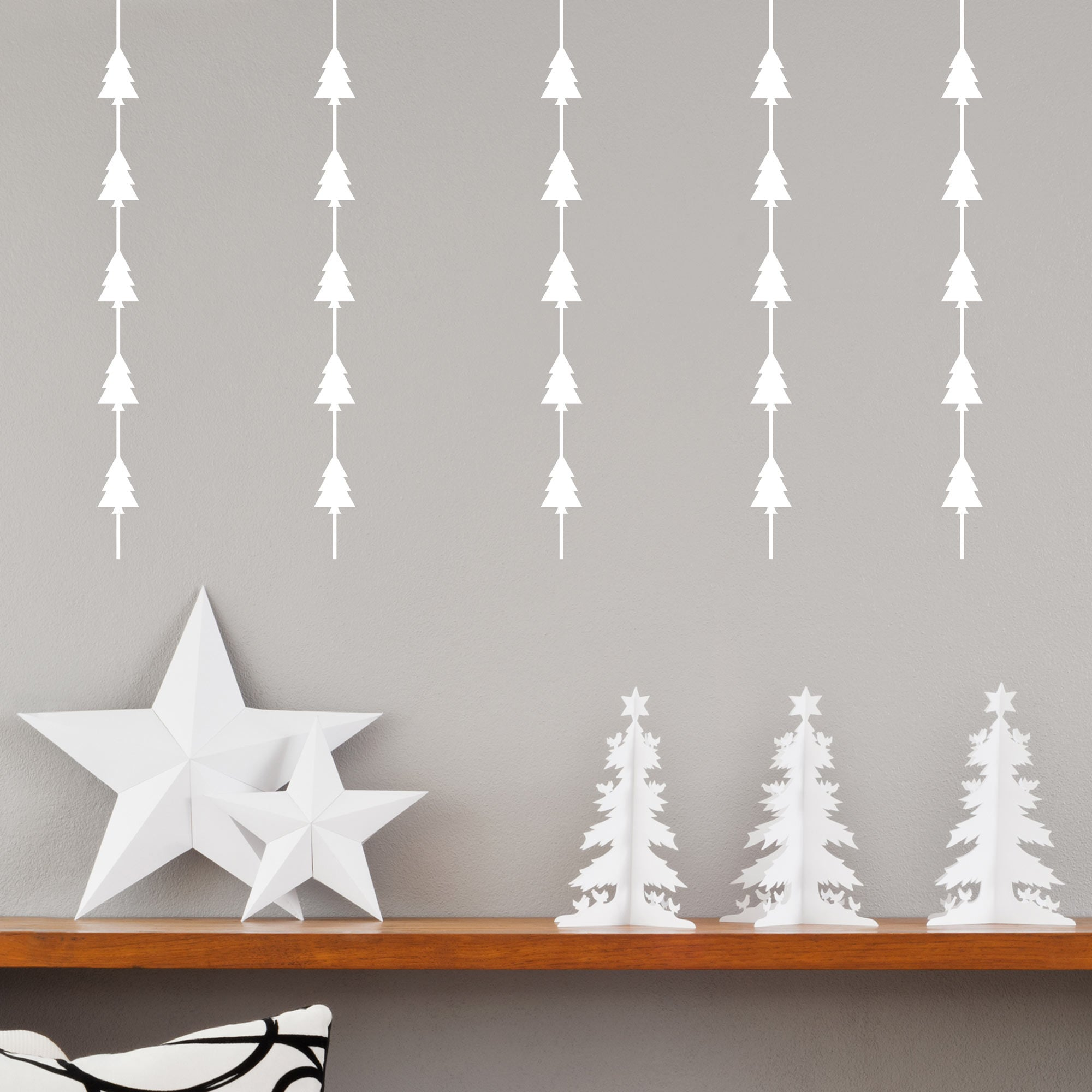 Christmas Tree Garland.Christmas Tree Garland Wall Sticker