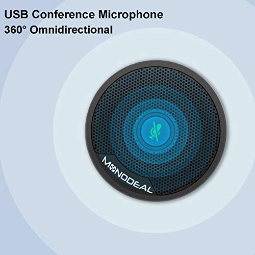 USB Conference Microphone, 360 ° Omnidirectional PC Microphones Mute Plug & Play Compatible with Mac OS Windows 7/8/10 for Zoom, Skype, Video Meeting, Gaming, Chatting