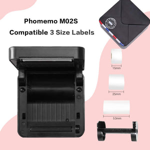 Phomemo M02S Portable Thermal Printer- 300dpi HD Wireless Pocket Printer, Print 3 Size Papers, Compatible with iOS and Android, Thermal Photo Printer for Work, Study, Organization, Planner, Black