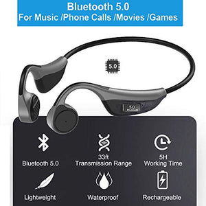 Open Ear Headphones, Monodeal Bone Conduction Headphones Wireless Bluetooth Headset with Microphone for Sports, Driving, Home and Office, Online Meeting etc(Grey)