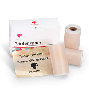 Phomemo Transparent White Glitter Thermal Sticker Paper for Phomemo M02/M02 Pro/M02S, 50mm x 3.5m, Diameter 30mm, 3 Rolls