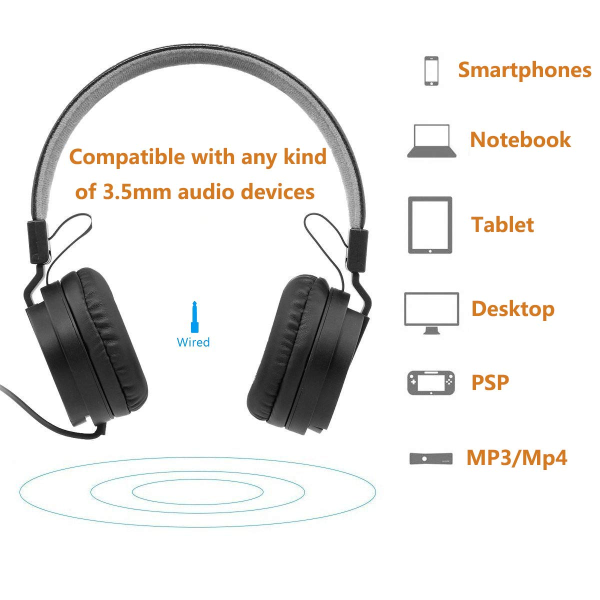 MONODEAL Kids Active Noise Cancelling Headphones, Children Girls Boys Teens Adults Foldable On Ear Headphones for Airplane Travel, Wired Headset Compatible with iPad/Cellphones/Computer/Tablet/MP3,4