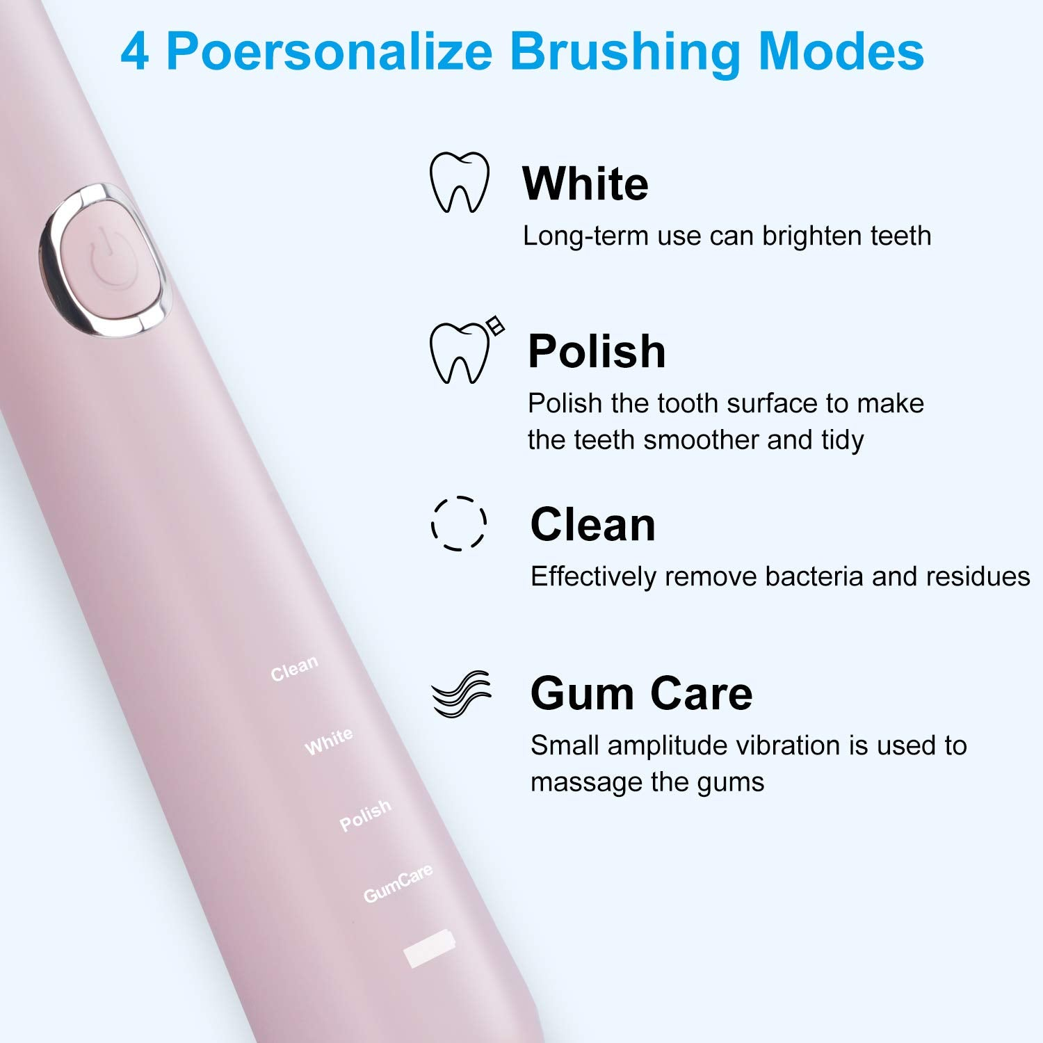 Sonic Electric Toothbrush, USB Rechargeable Toothbrush, Adult Electric Toothbrush with Holder and 2 Replacement Heads, 4 Modes with Automatic Timer (Pink)
