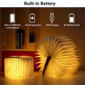 Yuanj LED Book Lamp, Wooden Book Lamp, USB Rechargeable Book Lamps, Aurora Lamp Book 360 ° Foldable, Decorative Lamps / Night Light, Creative Gift for Women / Parents / Children (2500mAh / warm white light) [Energy class A +]