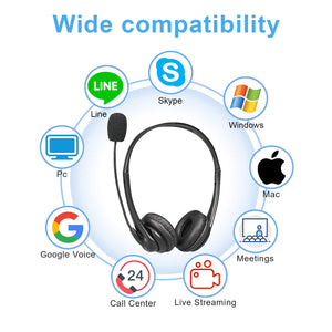 USB Headset with Microphone MONODEAL Computer Headphone with Mic for Laptop PC Wired Headset with Volume Controller for Call Center Office Conference Calls Chats Skype Google Voice