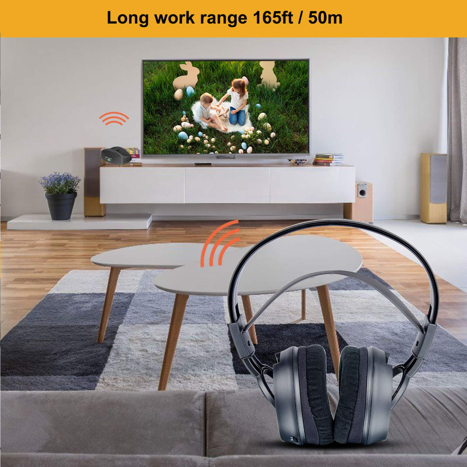 Wireless Headphone for TV Watching,Ansten Over-Ear Headphone with Charging Dock Lightweight Cordless Design for Gaming PC TV iPhone Ipad 25hr Listening,Rechargeable and 50m/164 FT Range