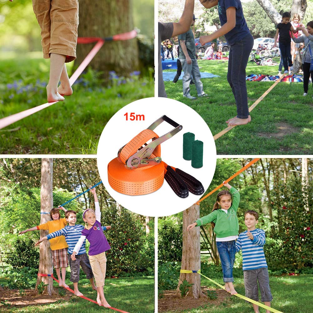 Yuanj Slacklines, slackline children set + tree protection + ratchet, 15m slackline set for children & beginners. Perfect recreational sport for children and families. Outdoor fun, 50 mm wide.