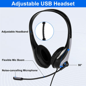 USB Headset with Microphone Wired Computer Laptop Headphones for Call Center Conference Skype Calls Google Voice Office Chats etc