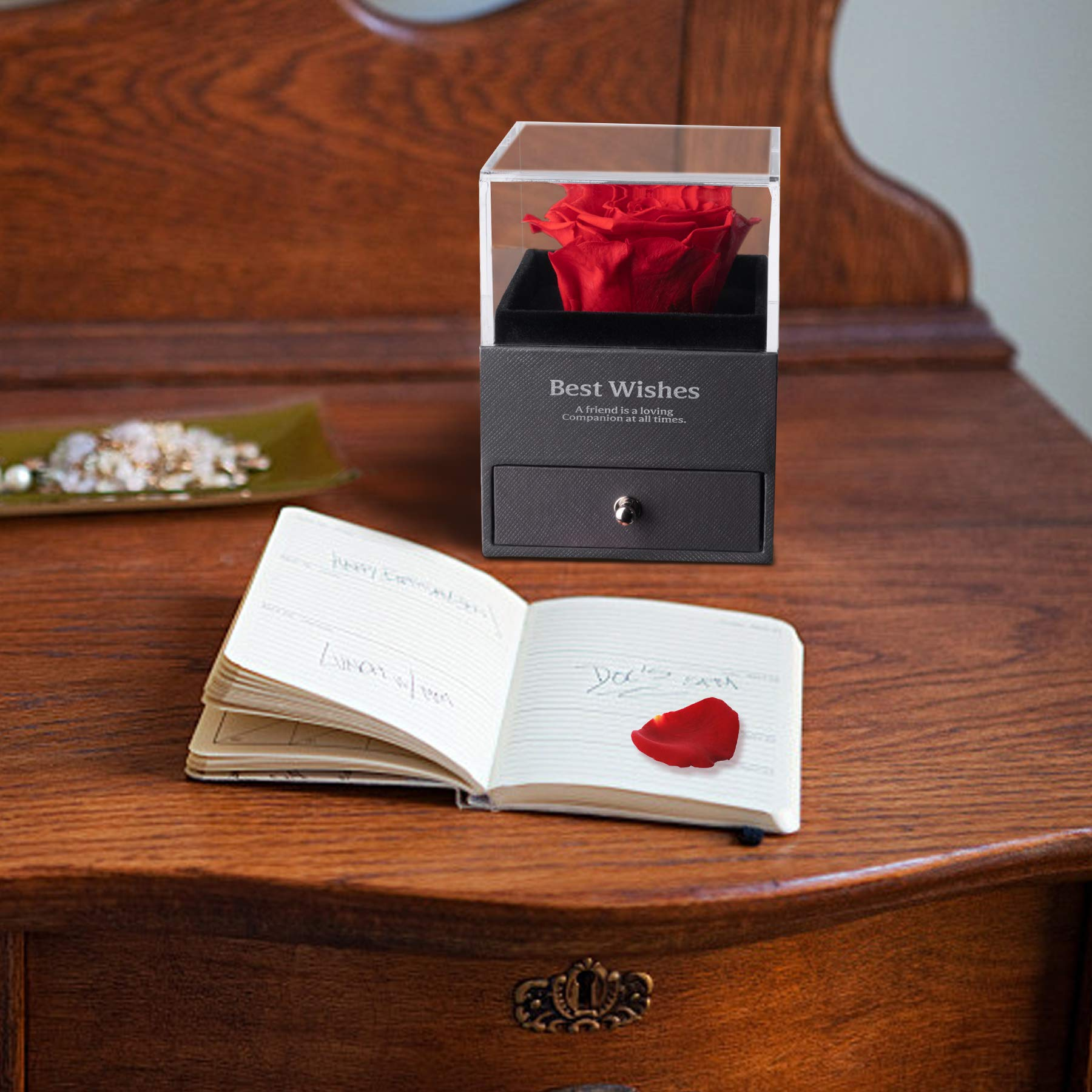Preserved Real Rose Gift Box, Handmade Eternal Real Rose, Forever Red Rose Gift Box for Valentine's Day Mother's Day Wedding Anniversary Birthday Gift for Her(Red)