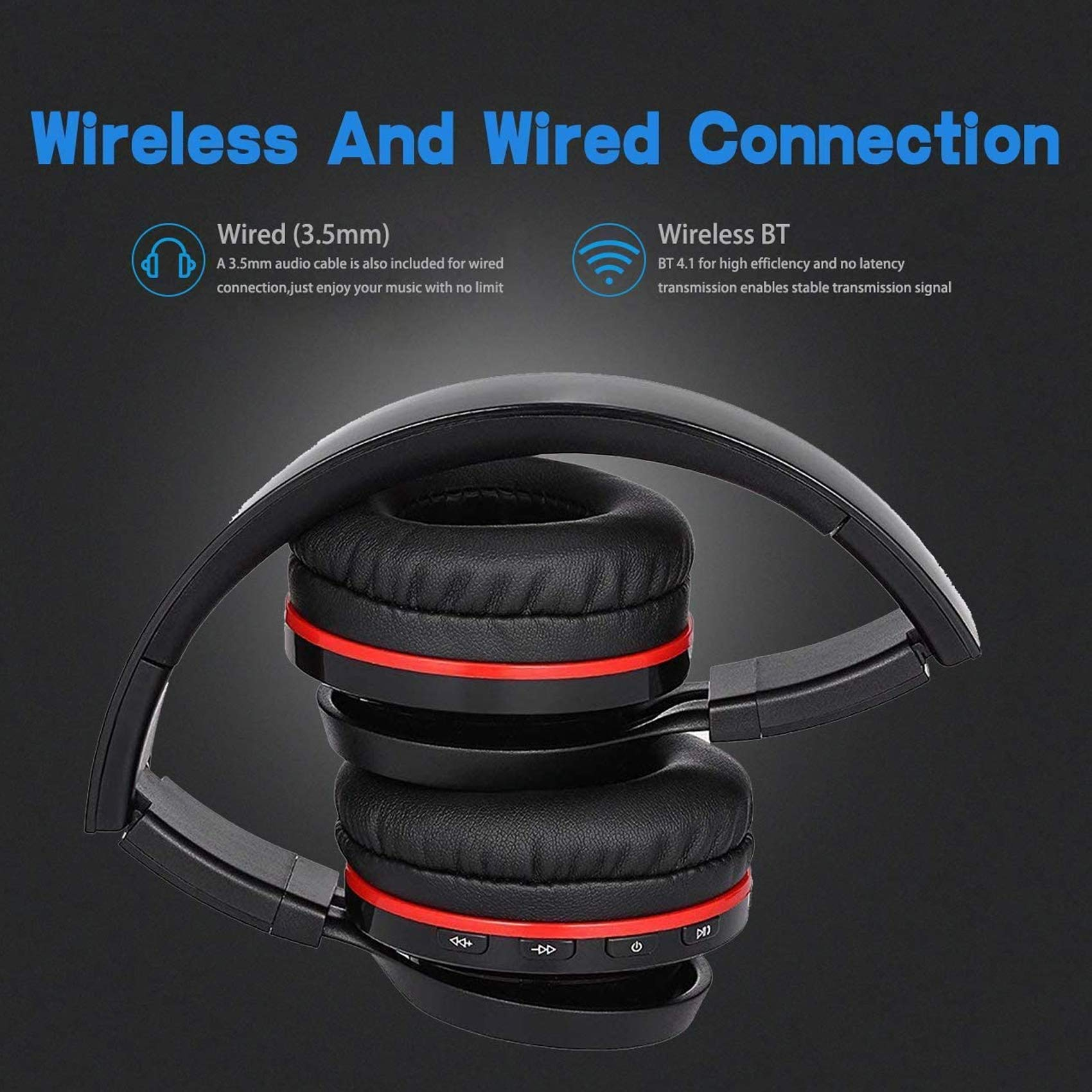 Active Noise Cancelling Wired/Wireless Bluetooth Headphones, Monodeal Foldable Over The Ear Headset,Soft Memory-Protein Earmuffs,Hi-Fi Stereo Headset for PC/Cell Phones/TV Travel Work Daily Use