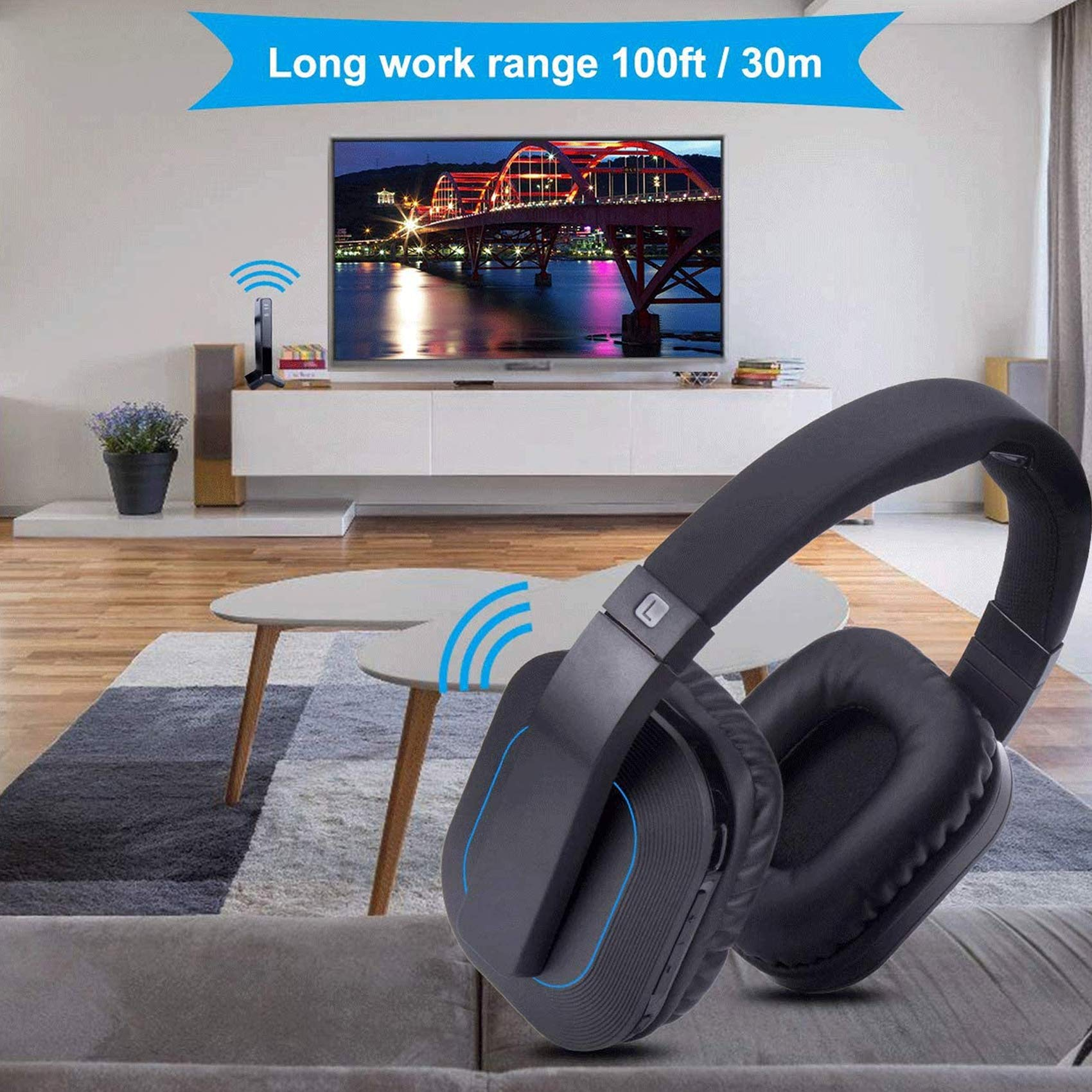 ARTISTE Wireless Headphones for Smart TV Watching with Transmitter Charging Dock, Digital Optical System, High Volume Headset Ideal for Seniors/Hearing Impaired, 100 Foot Wireless Range No Audio Delay