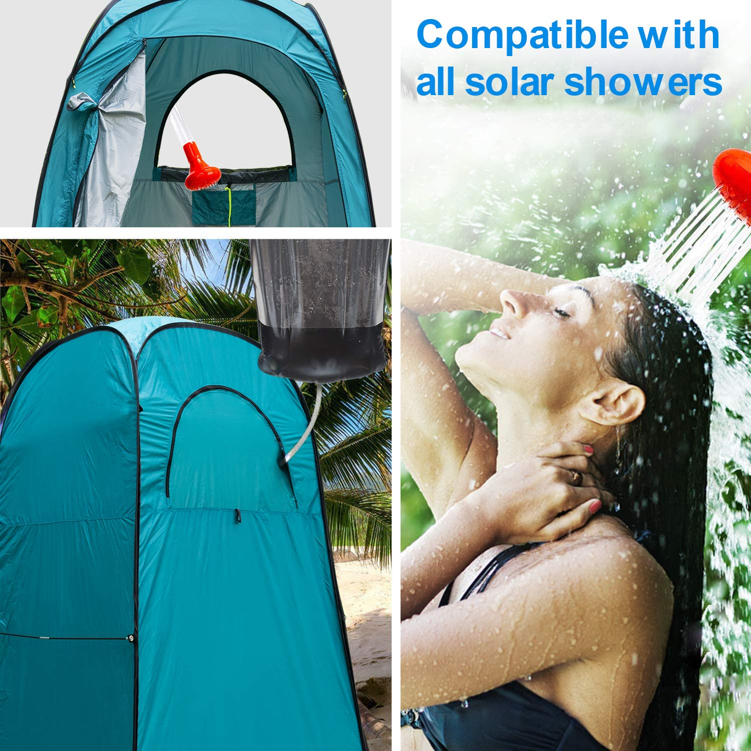 Yuanj Camping Shower Tent, Pop Up Toilet Tent Waterproof Changing Tent, Outdoor Private Mobile Toilet Tent for Camping & Beach, with Carrying Bag, 210 * 120 * 120 cm