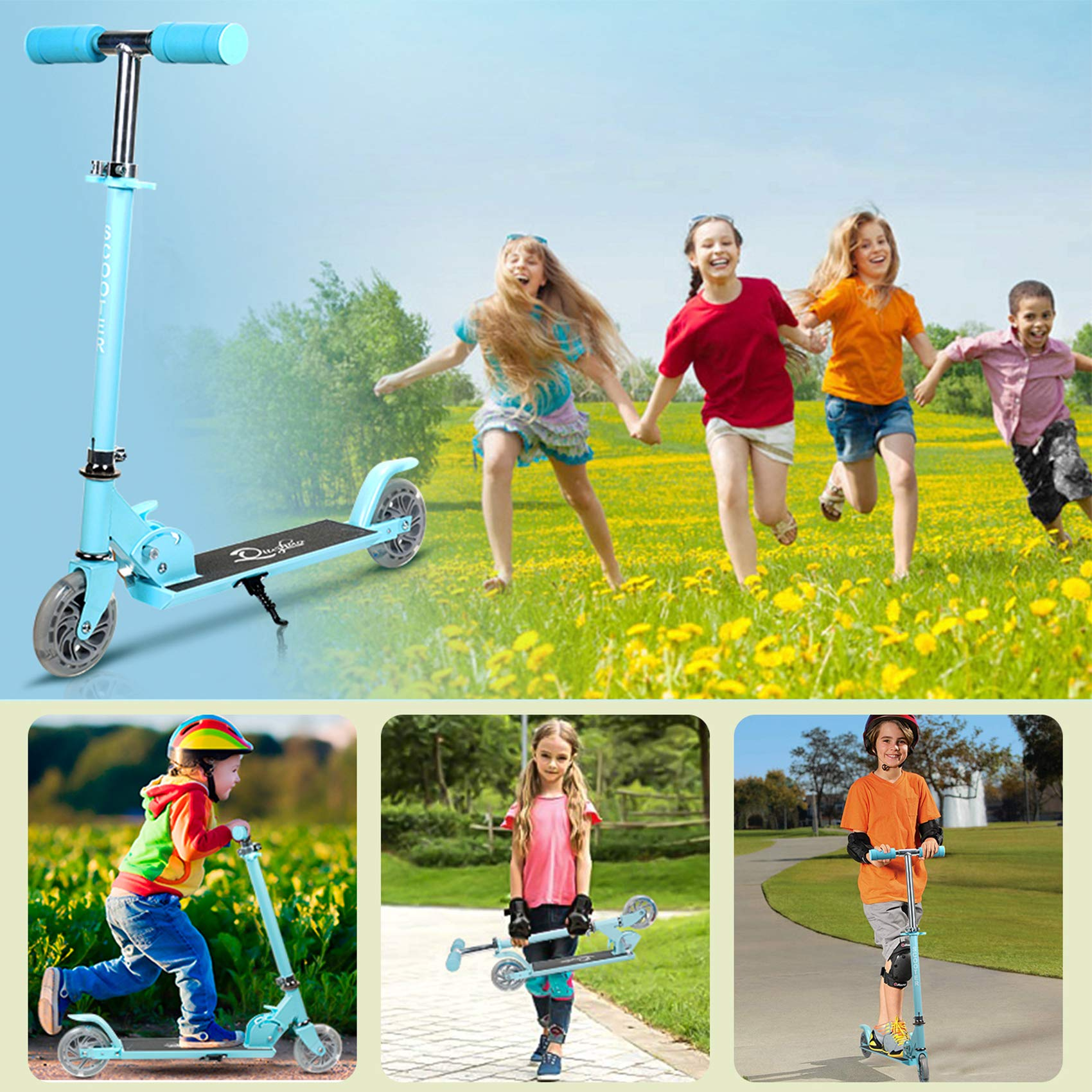 MONODEAL Kids Scooter, Kick Scooters for Kids Ages 3-12, Light Up Scooter with 2 Wheels for Boys Girls, Lightweight Folding Scooter with Adjustable Height