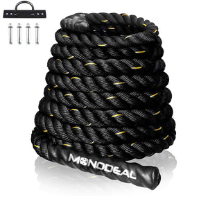 Battle Rope, MONODEAL Battle Ropes for Exercises, Weighted Workout Rope for Home Gym/Outdoors, Exercise Rope for Men and Women (50ft, 1.5-inch Diameter)