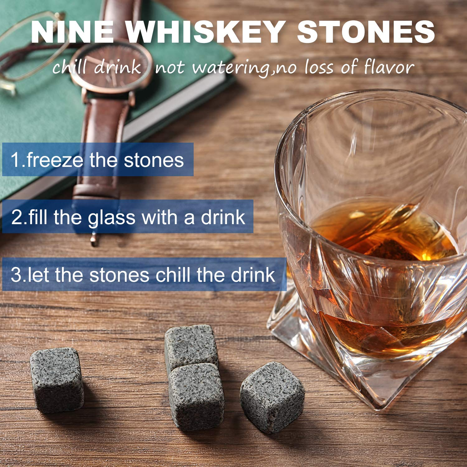Whiskey Stones Gift Set - Pack of 9 Granite Chilling Whiskey Rocks with Storage Pouch and Stainless steel Tong in Wooden Gift Box for Men Dad Boyfriend Idea for Birthday, Anniversary, Fathers Day