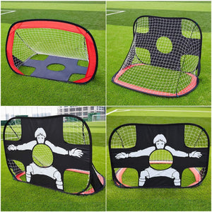 MONODEAL football goals Foldable, 2 in 1 pop-up football goal with goal wall, football goal for children and adults in the garden