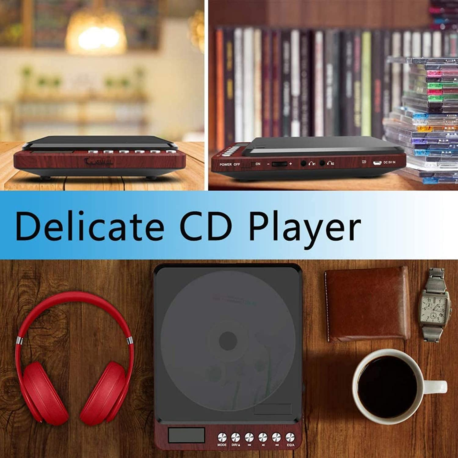 Portable CD Player with Headphones, Monodeal Compact Design CD Player with LCD Disply, Anti-Skip Personal CD Player for Car, Rechargeable CD Player for Music Audiobook Listening