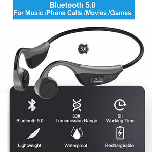 Open Ear Headphones, Monodeal Bone Conduction Headphones Wireless Bluetooth Headset with Microphone for Sports, Driving, Home etc(Grey)
