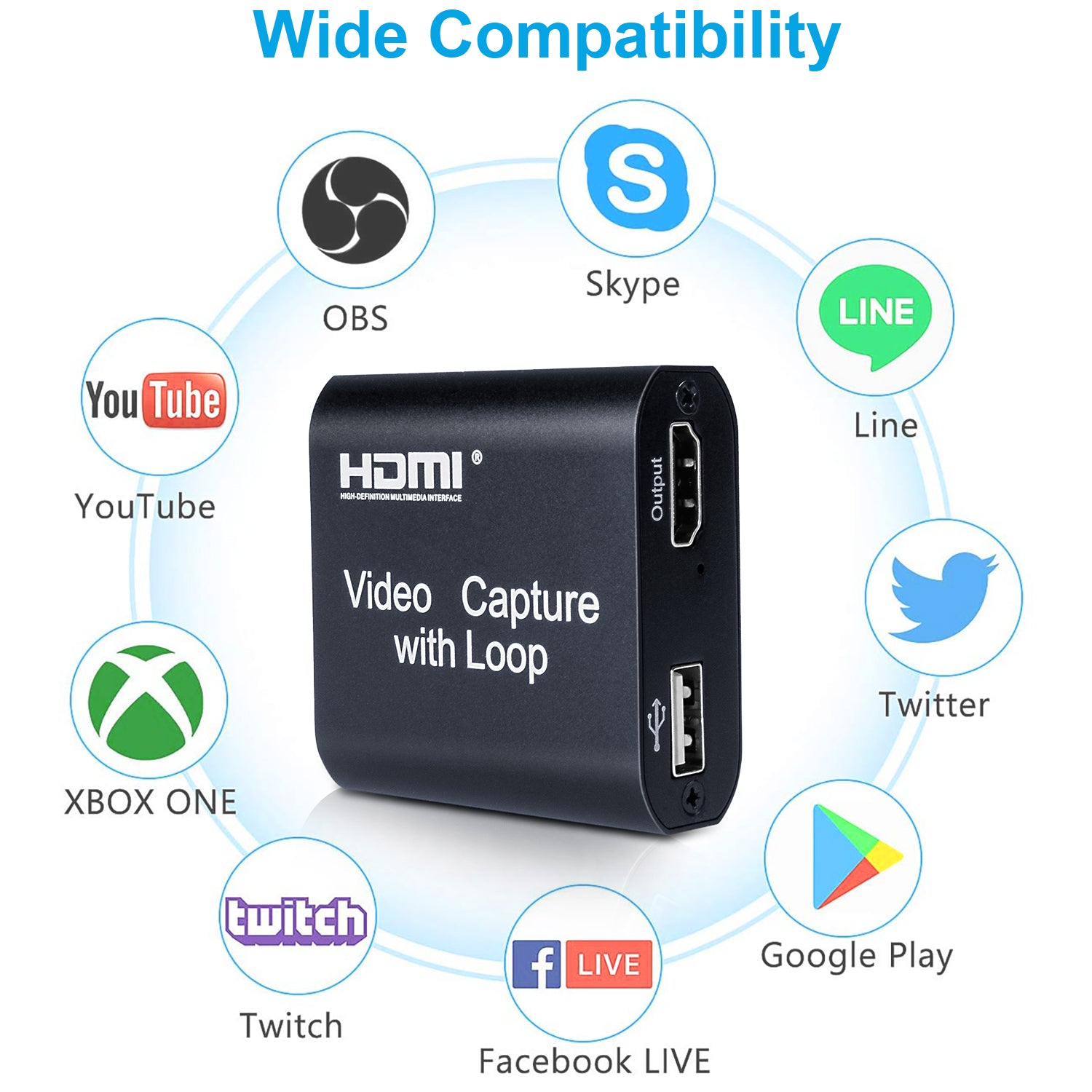 MONODEAL HDMI Video Game Converter with Loop Out, HDMI to USB Capture Device Support Full HD 1080P Video for Gaming, Streaming, Teaching, Video Conference, Live Broadcasting