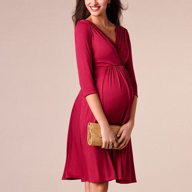 Solid V-neck Dress For Maternity