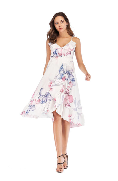Floral Falbala Sleeveless Dress for Maternity