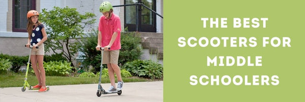 A boy and girl riding scooters