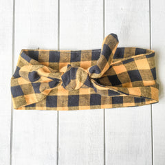 headband yellow buffalo plaid b.handmade designs hattie rex bozeman montana