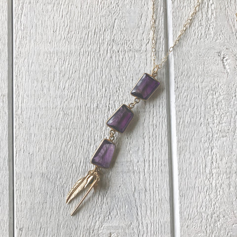 Handmade gift for mom mothers day amethyst gold necklace