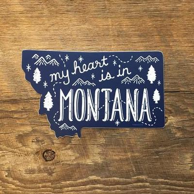 "montana state sticker that says ""My heart is in Montana"""