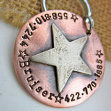 Star ID tag dog name tag handmade in Bozeman, Montana.  Unique metal dog tags, pet id tags personalized for you, and handmade dog tag art make special gifts for special dog moms and dads.  Western Sherrif hammered silver and rose gold jewelry for dogs and dog lovers.