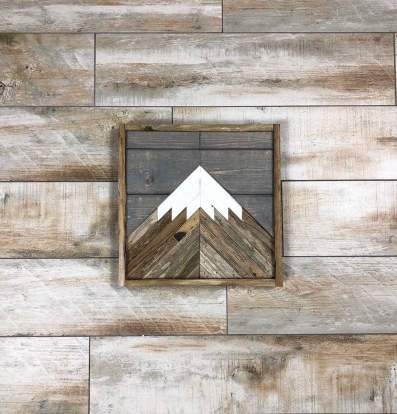 Rustic Mini Mountain with Grey Sky Wall Art