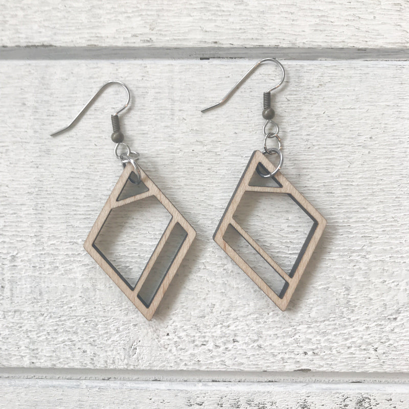 Geometric Diamond Wood Earrings Earrings handmade gift Bozeman, Montana